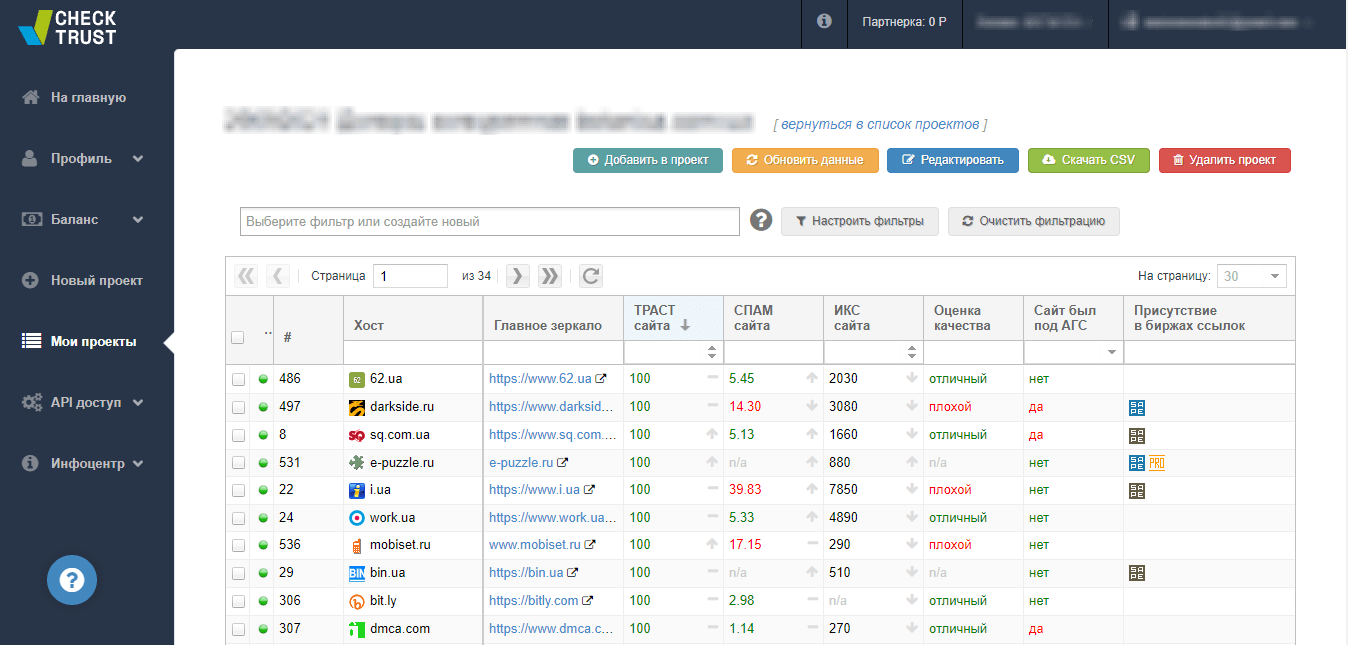 Анализ качества доменов через Checktrast